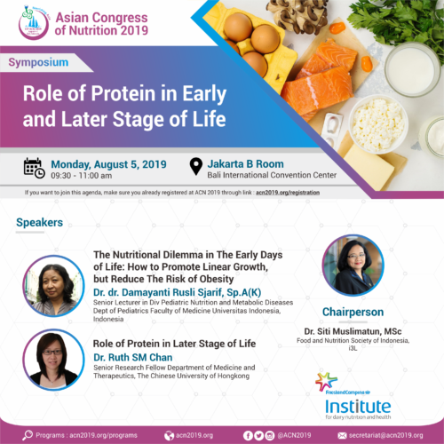 Asian Congress of Nutrition 2019: Satellite symposium on role of protein in early and later stages of life
